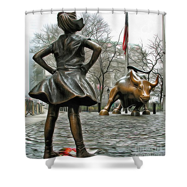 Fearless Girl And Wall Street Bull Statues 5 Shower Curtain