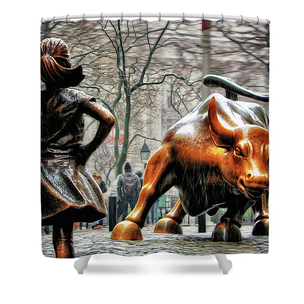Fearless Girl And Wall Street Bull Statues Shower Curtain
