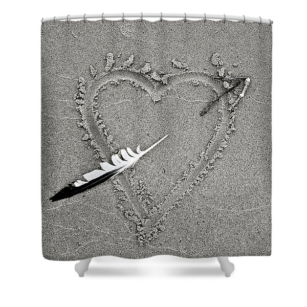 Feather Arrow Through Heart In The Sand Shower Curtain
