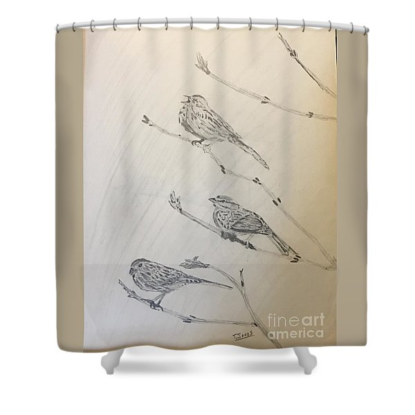 Feathers Friends Shower Curtain