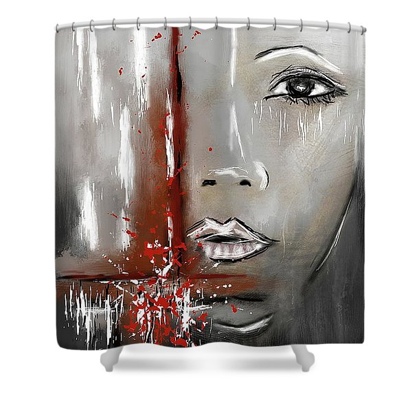 Female Half Face On Grey Abstract Shower Curtain