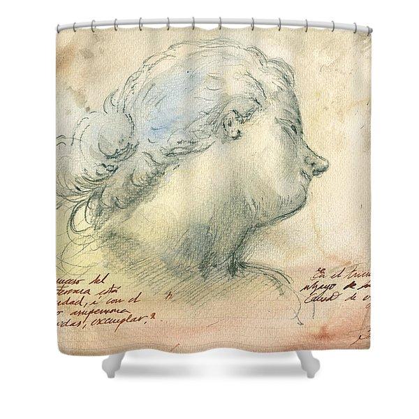 Female Head Study Shower Curtain