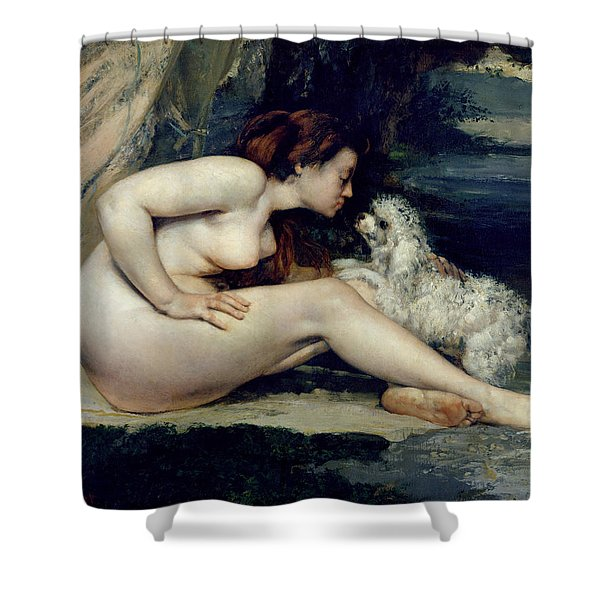 Female Nude With A Dog Shower Curtain