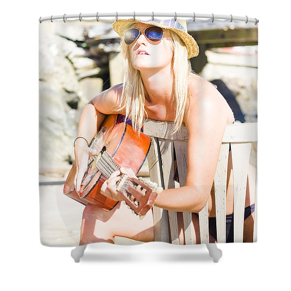 Female Traveling Guitarist Playing Music Shower Curtain