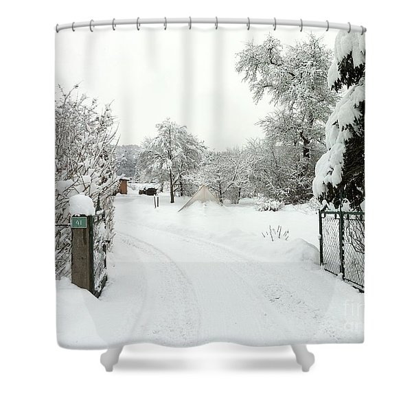 Fence And  Gate In Winter Shower Curtain