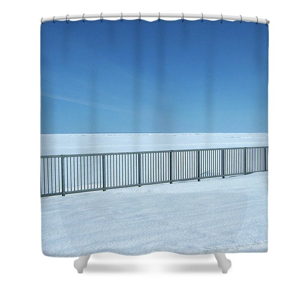 Fence In Snow Shower Curtain
