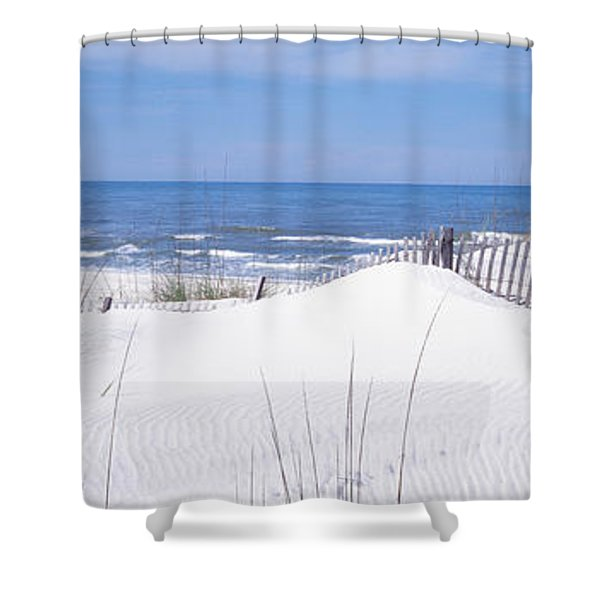 Fence On The Beach, Gulf Of Mexico, St Shower Curtain