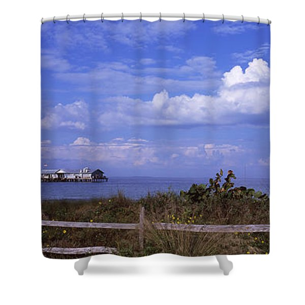 Fence On The Beach With A Pier Shower Curtain