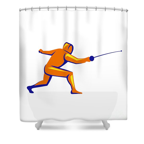 Fencing Thrust Side View Retro Shower Curtain