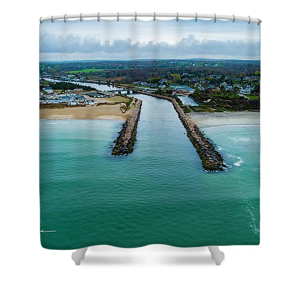 Fenway Beach Breakwater Shower Curtain