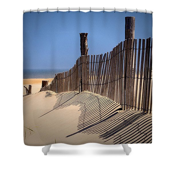 Fenwick Dune Fence And Shadows Shower Curtain