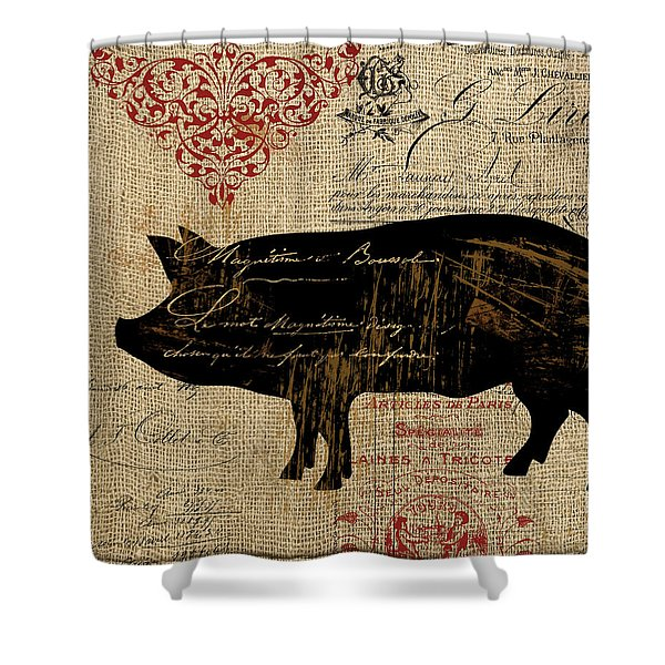 Ferme Farm Piglet Shower Curtain