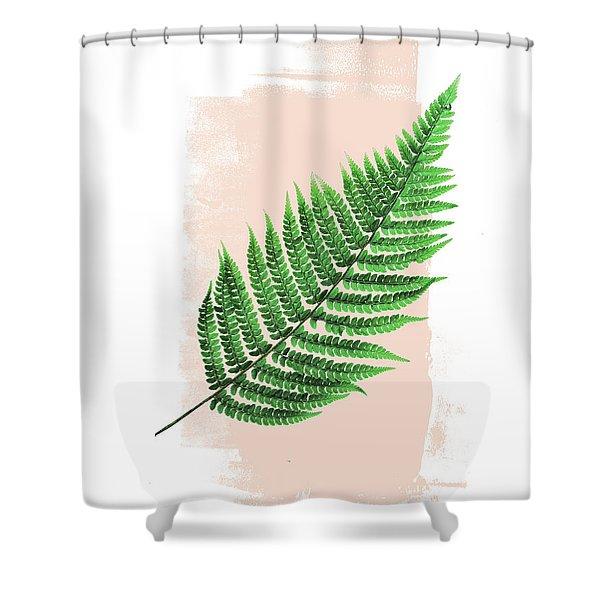 Fern Leaf On Pink Shower Curtain