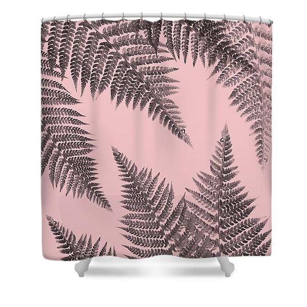 Ferns On Blush Shower Curtain