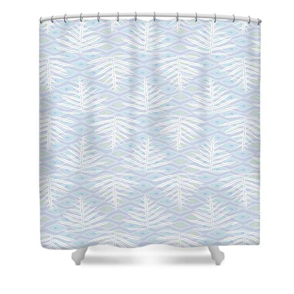 Ferns On Diamonds Lilac Gray Shower Curtain
