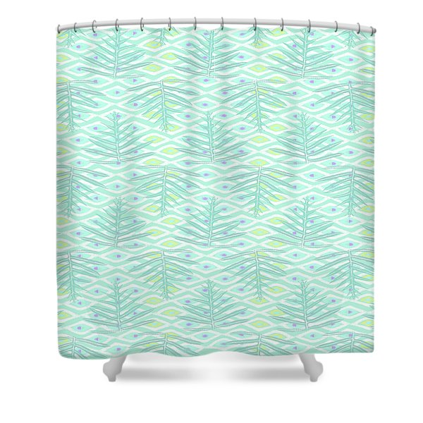 Ferns On Diamonds Pale Teal Shower Curtain
