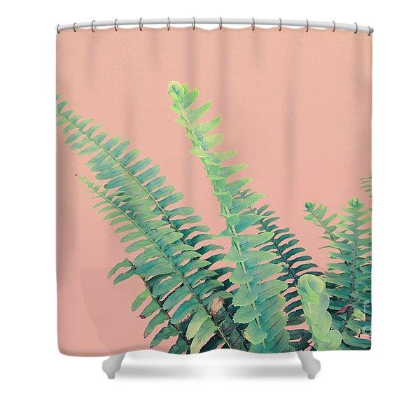 Ferns On Pink Shower Curtain