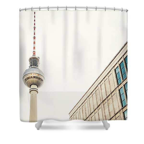Fernsehturm And Building In Berlin Shower Curtain