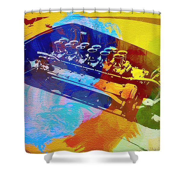 Ferrari Engine Watercolor Shower Curtain