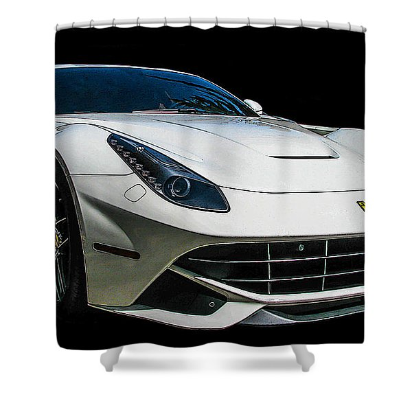 Ferrari F12 Berlinetta In White Shower Curtain