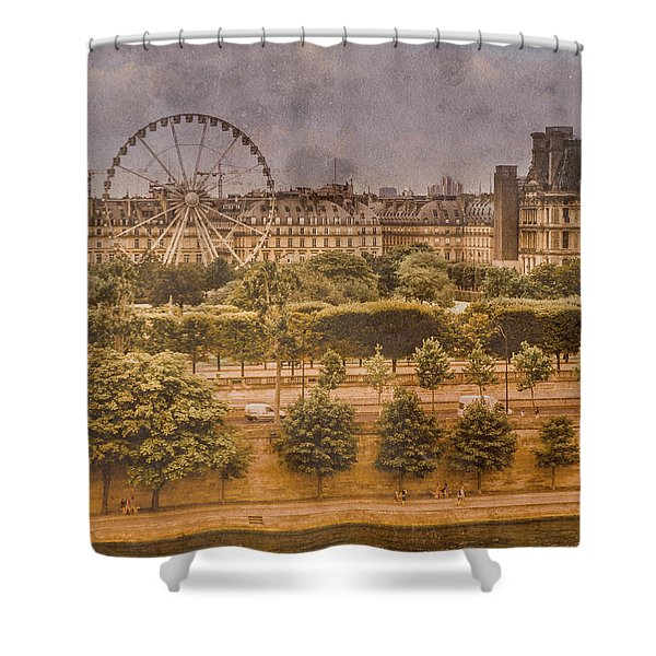 Paris, France - Ferris Wheel Shower Curtain