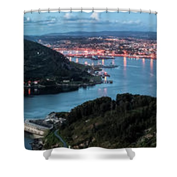 Ferrol's Estuary Panorama From La Bailadora Galicia Spain Shower Curtain