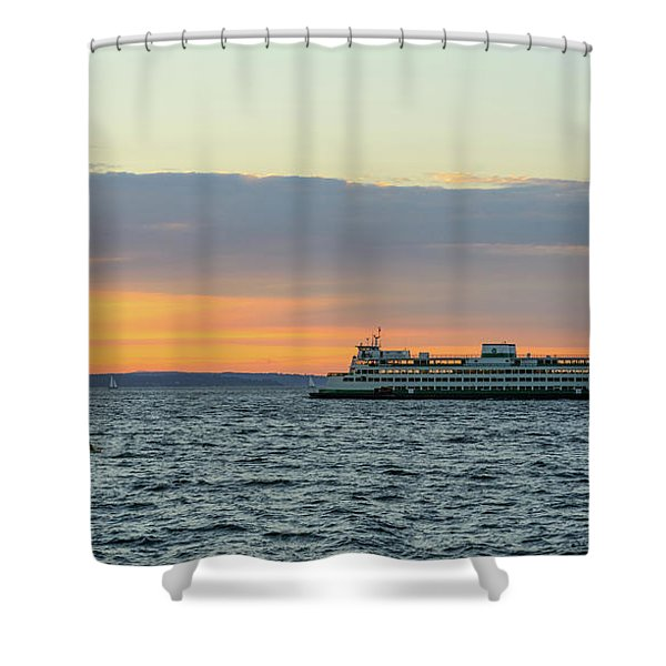 Ferry And Hayakers At Alki Beach Shower Curtain
