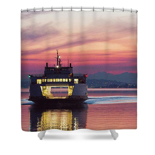 Ferry Issaquah Docking At Dawn Shower Curtain