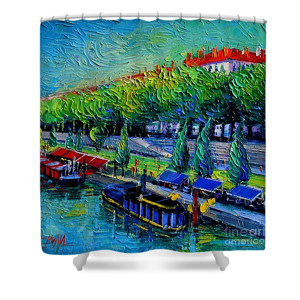 Festive Barges On The Rhone River Shower Curtain