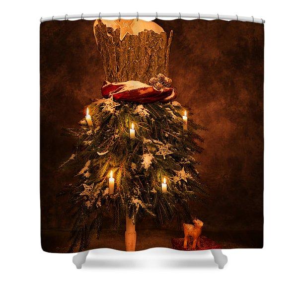 Festive Christmas Vintage Mannequin Shower Curtain