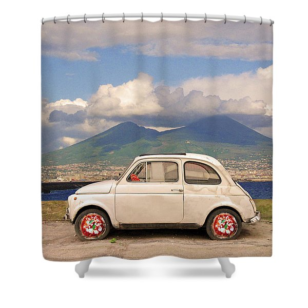 Fiat 500 Pizza Shower Curtain