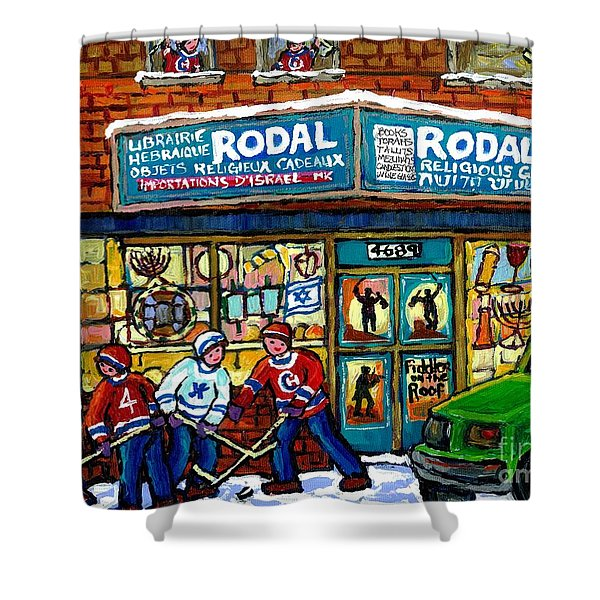 Fiddler On The Roof Painting Canadian Art Jewish Montreal Memories Rodal Gift Shop Van Horne Hockey  Shower Curtain