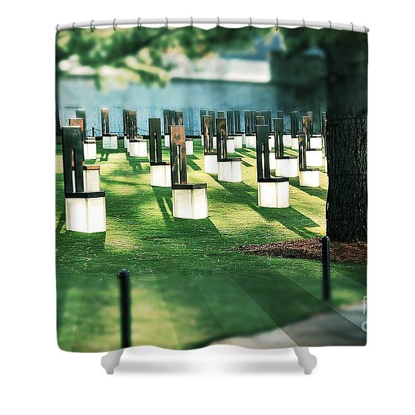 Field Of Empty Chairs Shower Curtain