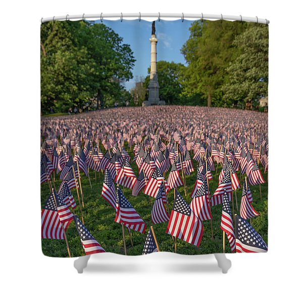 Field Of Flags At Boston's Soldiers And Sailors Monument Shower Curtain