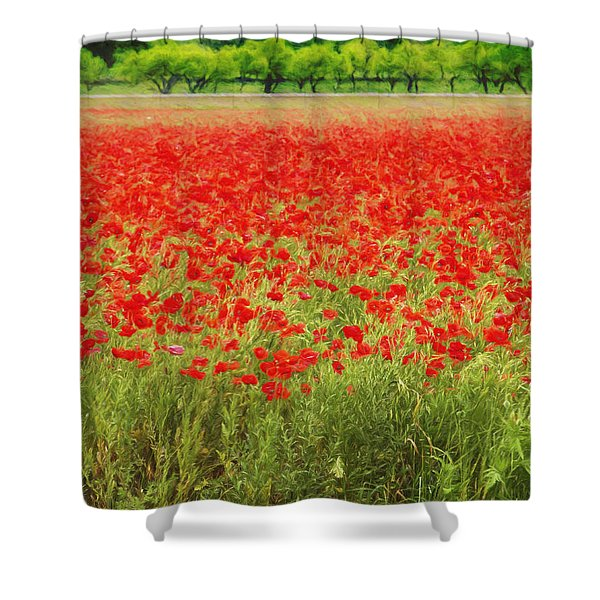 Field Of Red Poppies Shower Curtain