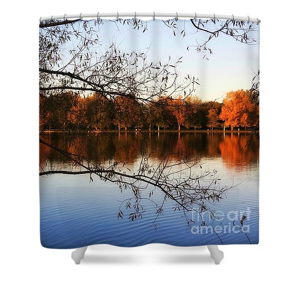 Fiery Colors On The Lake Shower Curtain