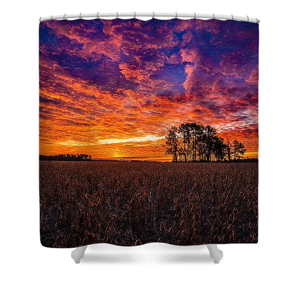 Fiery Dawn At Center Grove Shower Curtain