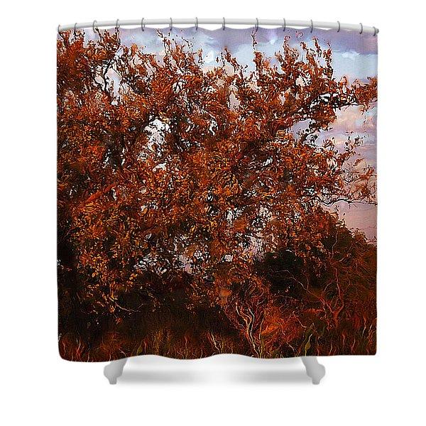 Fiery Elm Tree  Shower Curtain