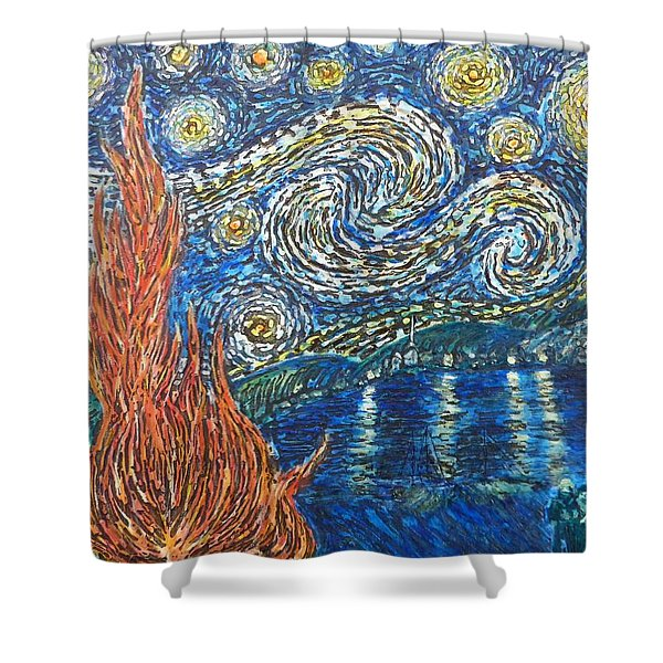 Fiery Night Shower Curtain