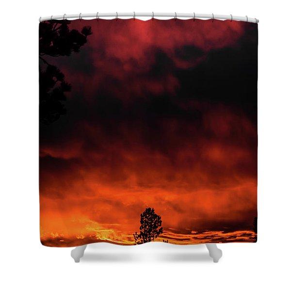 Shower Curtain featuring the photograph Fiery Sky by Jason Coward