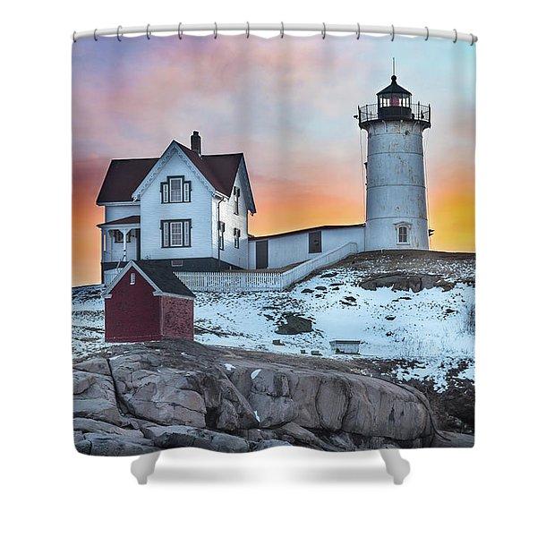 Fiery Sunrise At Cape Neddick Lighthouse Shower Curtain