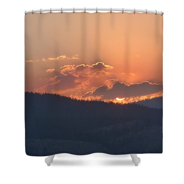 Shower Curtain featuring the photograph Fiery Sunset by Charles Robinson