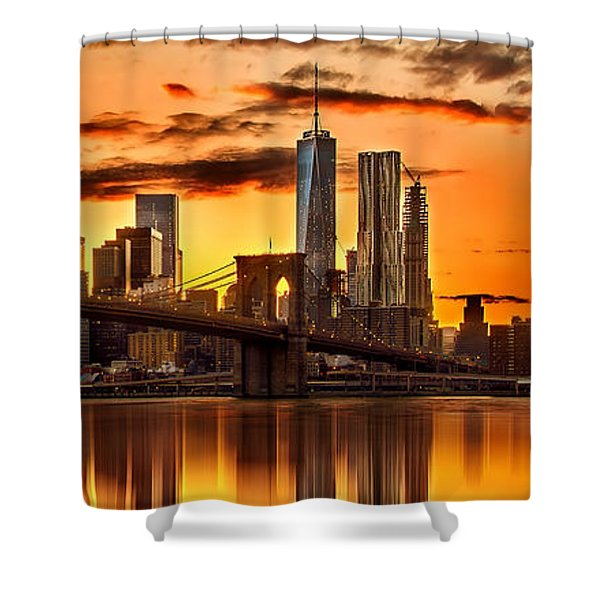 Fiery Sunset Over Manhattan  Shower Curtain