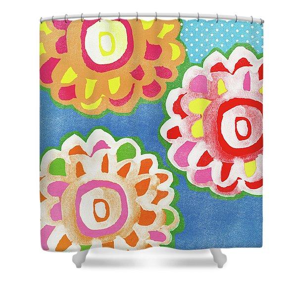 Fiesta Floral 3- Art By Linda Woods Shower Curtain