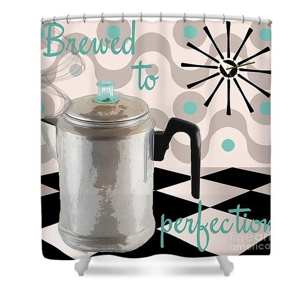Fifties Kitchen Coffee Pot Perk Coffee Shower Curtain