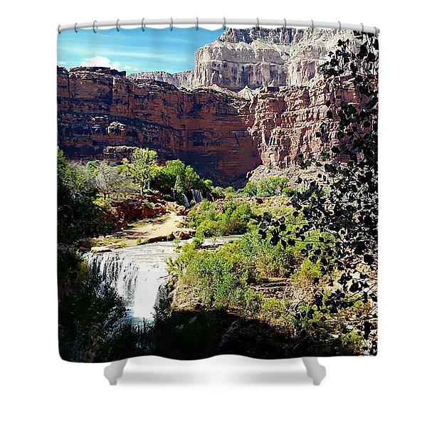 Fifty Falls And Havasupai Falls Havasupai Indian Reservation Shower Curtain