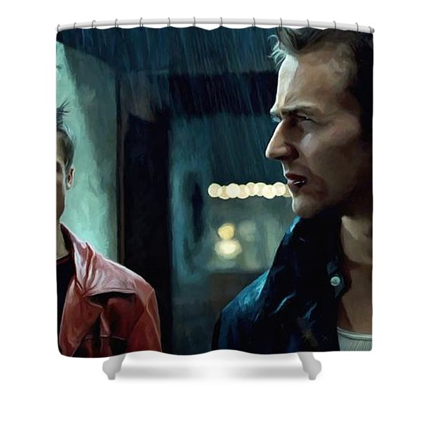 Fight Club #1 Large Size Painting Shower Curtain
