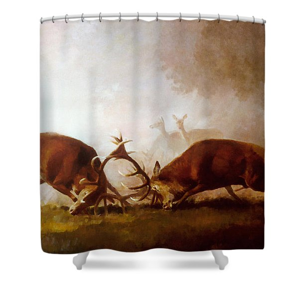 Fighting Stags II. Shower Curtain