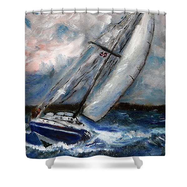 Fighting The Wind Shower Curtain