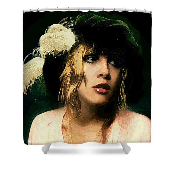 Shower Curtain featuring the painting Fine Art Digital Portrait Stevie Nicks Wearing Beret by G Linsenmayer